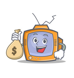 Tv character cartoon object with money bag vector