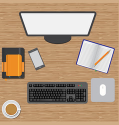 workspace wooden table vector image