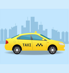 Yellow taxi car side view vector