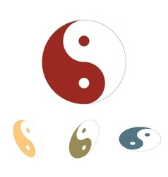 Ying yang symbol of harmony and balance icon set vector