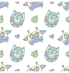 ornamental owls seamless vector image