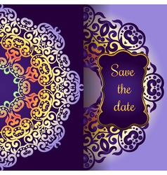 Wedding invitation delicate swirl mandala pattern vector