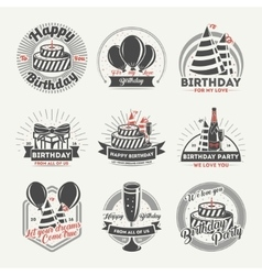Happy birthday vintage isolated label set vector