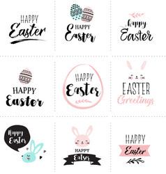 Happy easter greeting card poster with cute vector
