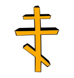 orthodox cross icon cartoon vector image