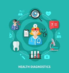 Health diagnostics flat round design vector
