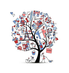 I love france art tree sketch for your design vector