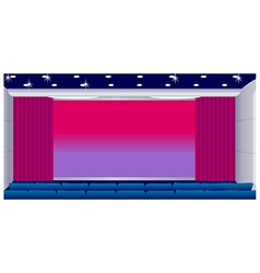 Cinema hall with red curtain vector