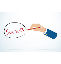 Businessman hand writting success word vector