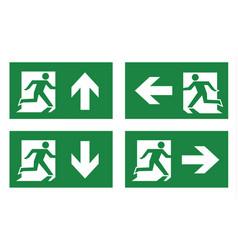 Fire exit icon set vector