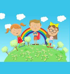 group of school children standing on green earth vector image