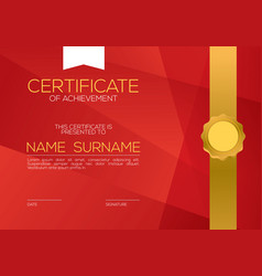 Modern style blank red certified template vector