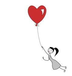 Girl holding the string of flying heart balloon vector