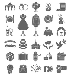 Wedding icons dark silhouettes vector