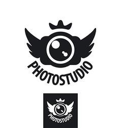 Camera logo with crown and wings vector