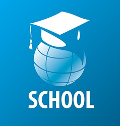 Logo academic cap on the globe vector