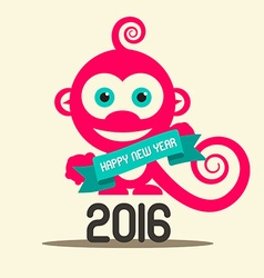 Simple happy new year 2016 with monkey and ribbon vector