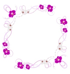 Delicate frame with orchid flowers vector image