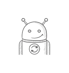 Android with refresh sign sketch icon vector
