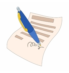 The document is signed icon cartoon style vector