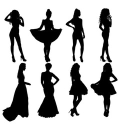 Beautiful fashion girl silhouette on a white vector