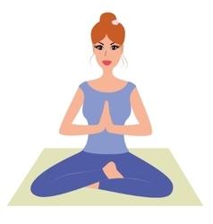 Beautiful woman practicing yoga namaste pose vector