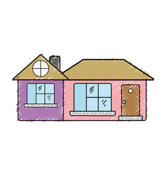Big house with roof and windows with door vector