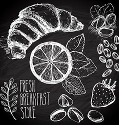 Breakfast sketched set vector