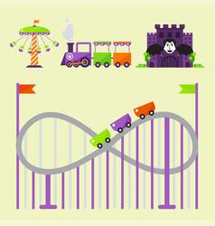 Carousels amusement attraction park side-show kids vector