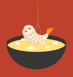 Cartoon shrimp tempura vector