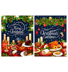 Christmas dinner poster of festive dishes on table vector