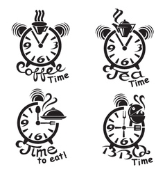 Clocks and different food and drinks vector