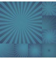 Collection of color dark blue burst background vector