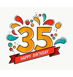 Colorful happy birthday number 35 flat line design vector