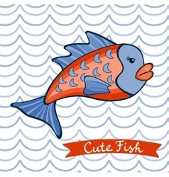 Cute fish character vector