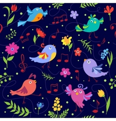 Cute spring musical birds seamless pattern blue vector image vector image