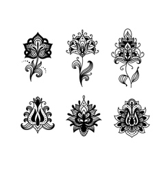 Decorative indian or persian paisley flowers vector