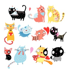 different cats vector image vector image