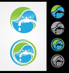 eco plumbing logo concept design vector image