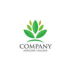 Green leaf ecology logo concept vector