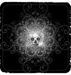 Grunge halftone background with a skull vector