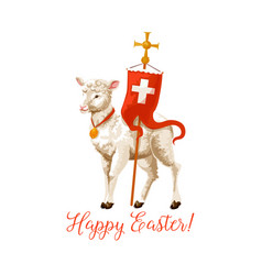 Happy easter lamb and cross icon vector