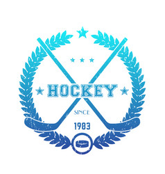 hockey emblem logo with crossed sticks blue over vector image vector image