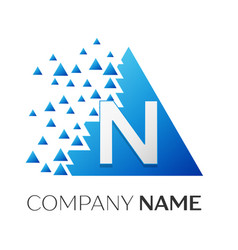 letter n logo symbol on colorful triangle vector image