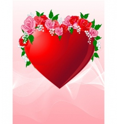 love heart with roses vector image vector image