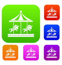 Merry go round horse ride set collection vector
