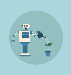 Modern robot watering plant futuristic artificial vector