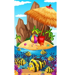 Nature scene with fish and island vector