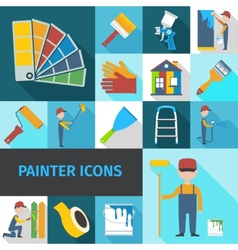 Painter icons set flat shadow vector