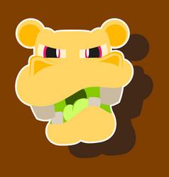 Paper sticker on theme evil animal hippo vector